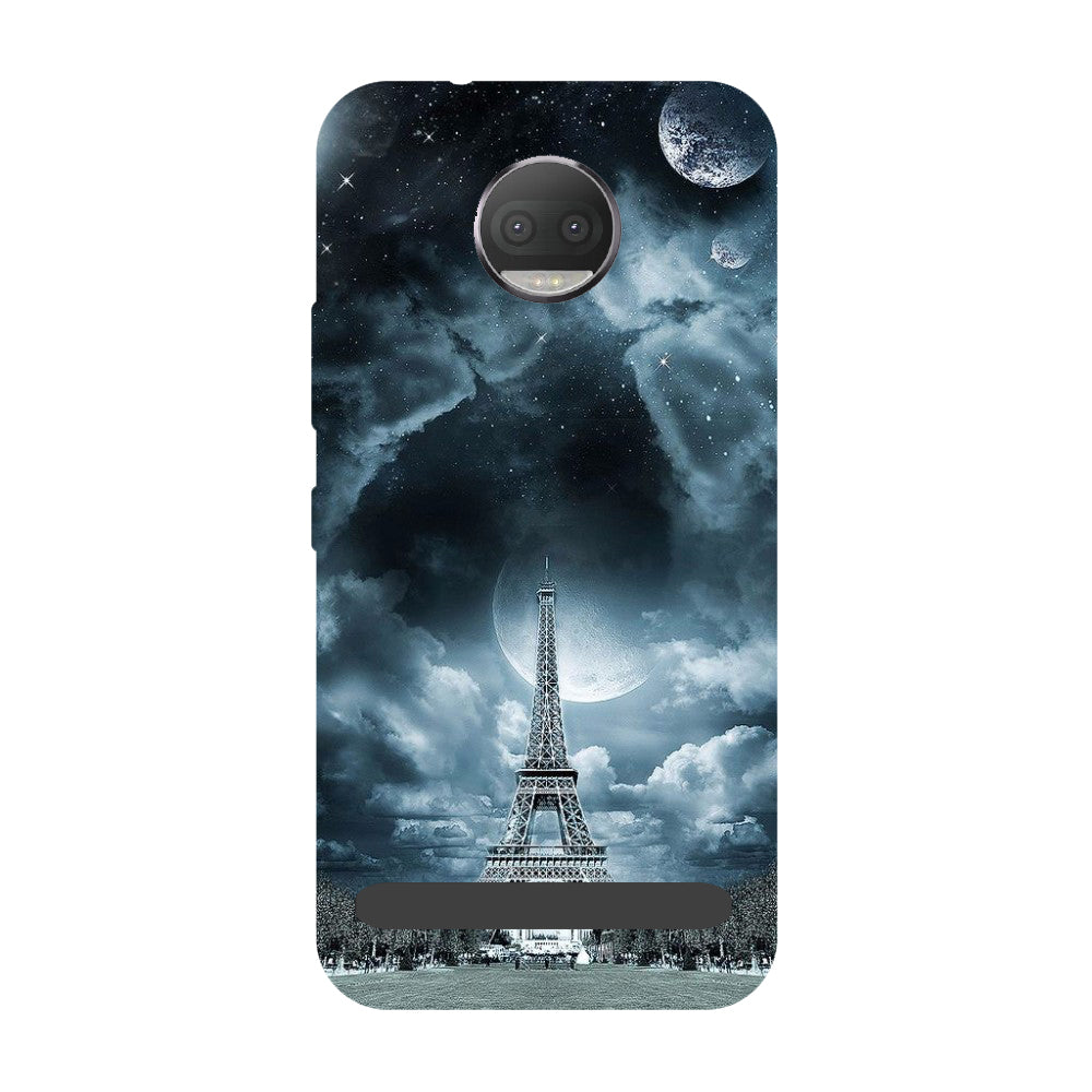Blue Eiffel- Printed Hard Back Case Cover for Moto Z3 Play