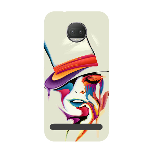 Girl paint- Printed Hard Back Case Cover for Moto Z3 Play-Hamee India