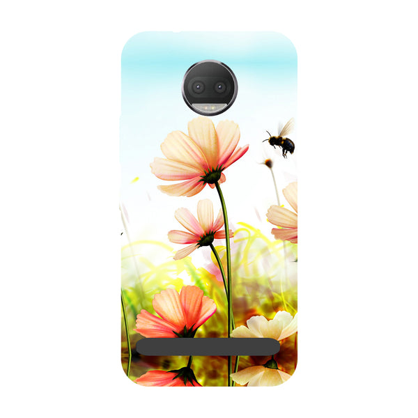 Flower bee- Printed Hard Back Case Cover for Moto Z3 Play-Hamee India