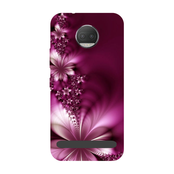 Purple flowers- Printed Hard Back Case Cover for Moto Z3 Play-Hamee India