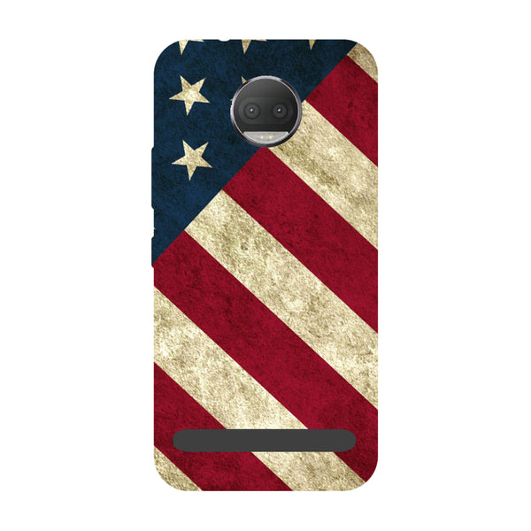USA flag- Printed Hard Back Case Cover for Moto Z3 Play-Hamee India
