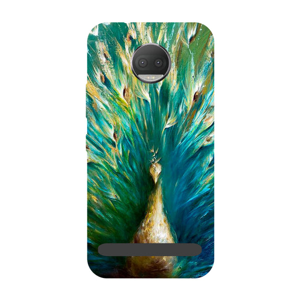 Peacock painting- Printed Hard Back Case Cover for Moto Z3 Play