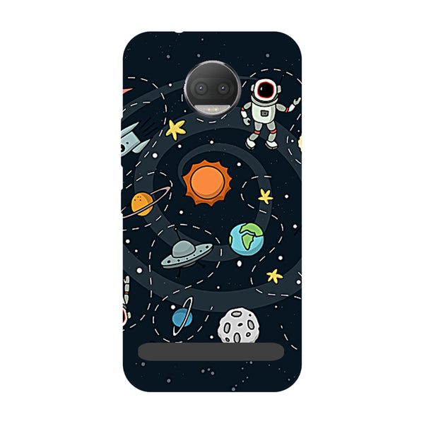 Planets- Printed Hard Back Case Cover for Moto Z3 Play