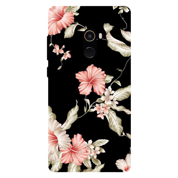 Black Floral - Hard Back Case Cover for Xiaomi Mi Mix 2-Hamee India
