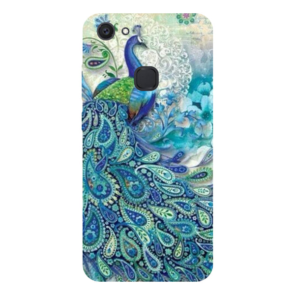 Blue Peacock - Hard Back Case Cover for Vivo V7 Plus-Hamee India