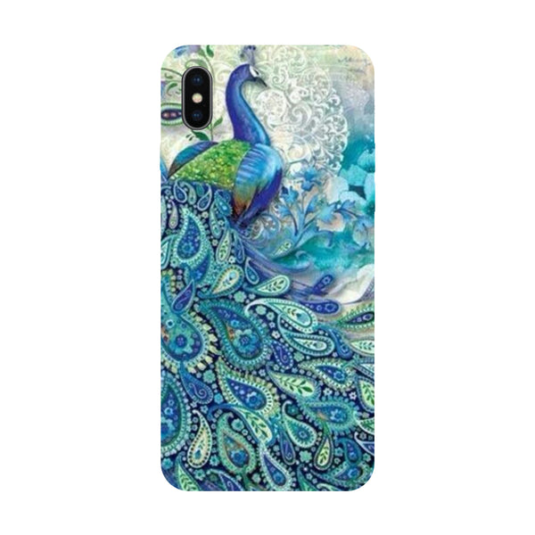 Hamee - Blue Peacock - Designer Printed Hard Back Case Cover for Apple iPhone X