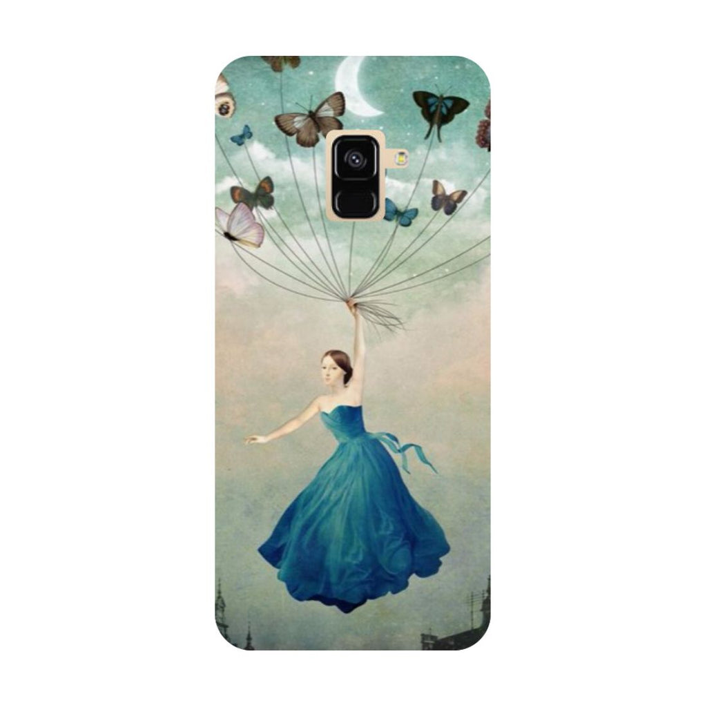 Girl butterflies- Printed Hard Back Case Cover for Samsung Galaxy A6 (2018)-Hamee India