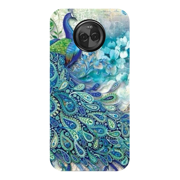 Hamee - Blue Peacock - Designer Printed Hard Back Case Cover for Moto X4