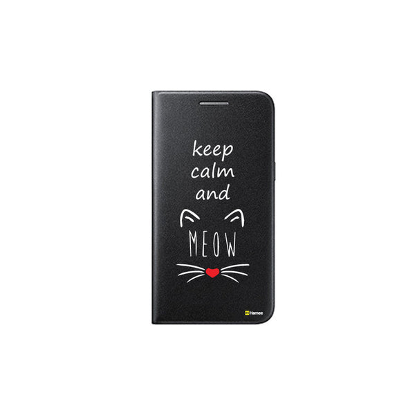 Hamee - Meow - Printed Black Leather Wallet Flip Cover for OnePlus 3T-Hamee India