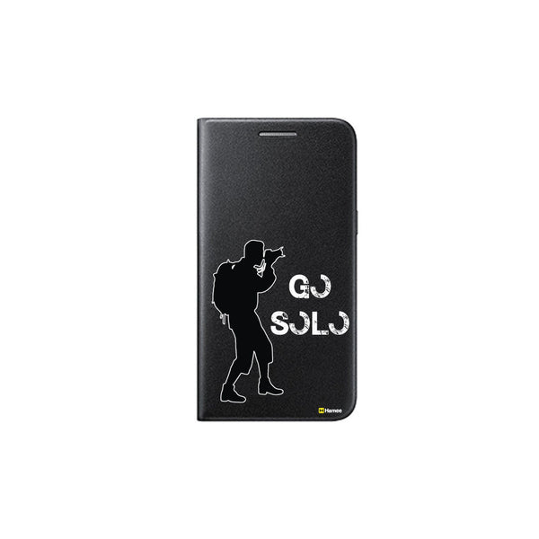 Hamee - Go Solo - Printed Black Leather Wallet Flip Cover for OnePlus 3T-Hamee India