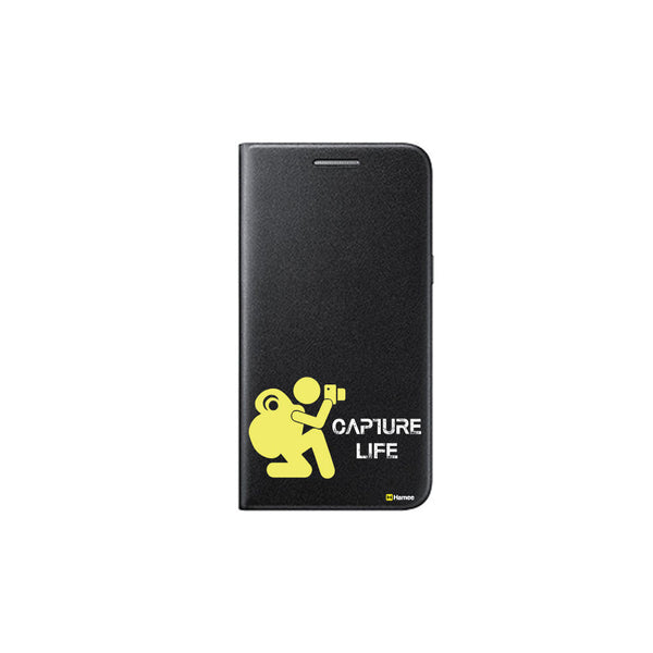 Hamee - Capture Life - Printed Black Leather Wallet Flip Cover for Xiaomi Redmi Note 4
