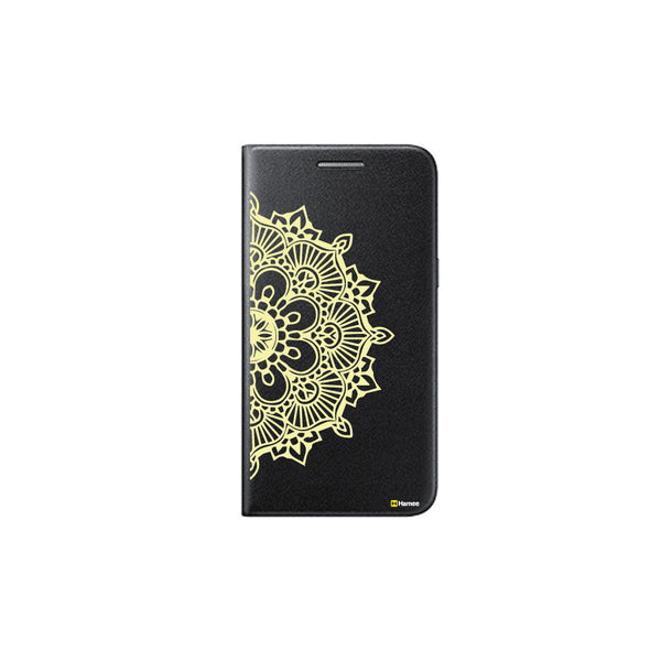 Hamee - Mandala Pattern 1 - Printed Black Leather Wallet Flip Cover for Xiaomi Redmi Note 4
