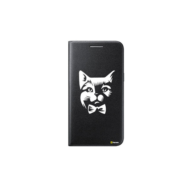 Hamee - Cat Boss - Printed Black Leather Wallet Flip Cover for Xiaomi Redmi Note 4