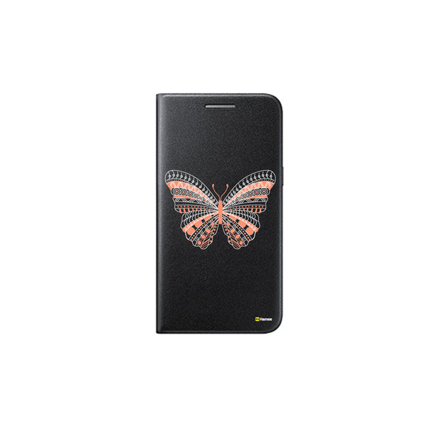Hamee - Butterfly - Printed Black Leather Wallet Flip Cover for Xiaomi Redmi Note 4