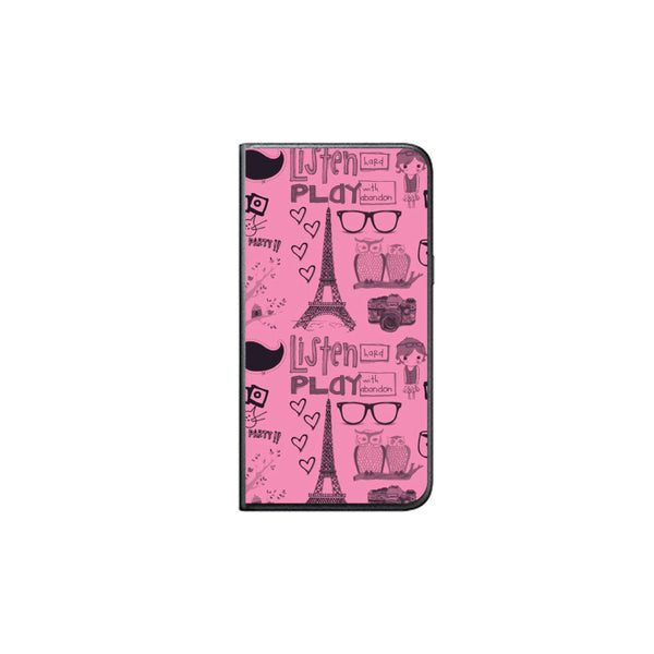 Hamee - Eifel Tower - Printed Black Leather Wallet Flip Cover for Xiaomi Redmi Note 4