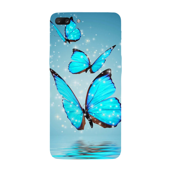 Hamee - Blue Butterfly 2 - Designer Printed Hard Back Case Cover for One Plus 5