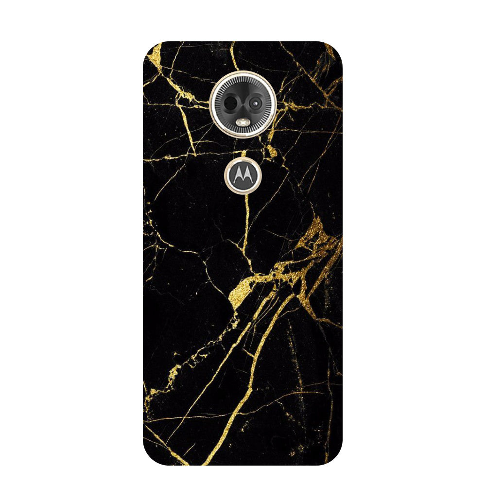 Hamee- Black marble-Printed Hard Back Case Cover For Moto E5 Plus