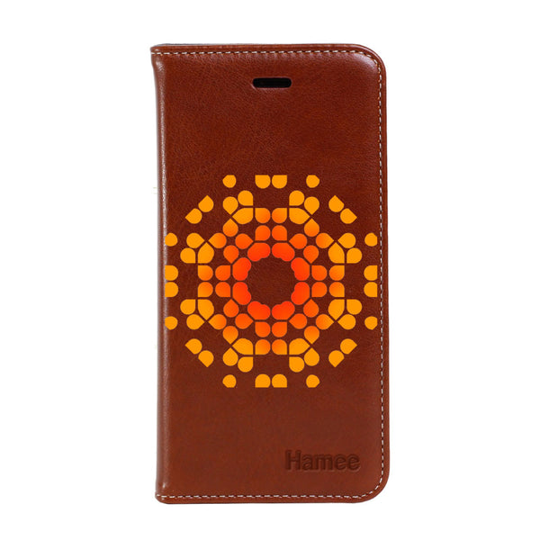 Hamee - Orange Pixels - Premium PU Leather Flip Diary Card Pocket Case Cover Stand for Mi Mix 2