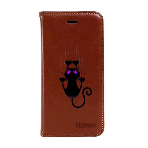 Hamee - Scratch Cat - Premium PU Leather Flip Diary Card Pocket Case Cover Stand for Mi Mix 2