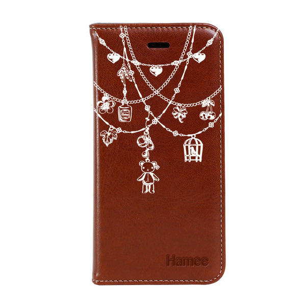 Hamee - White Ornaments - Premium PU Leather Flip Diary Card Pocket Case Cover Stand for Mi Mix 2