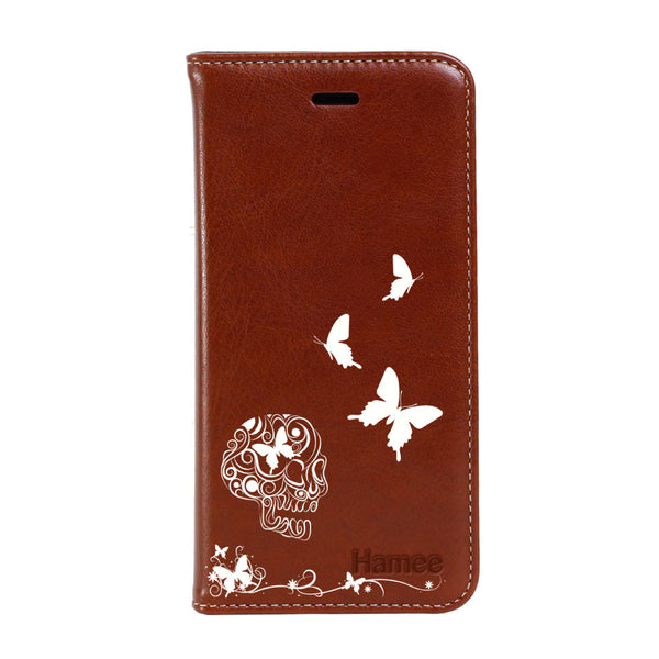 Hamee - Skull - Premium PU Leather Flip Diary Card Pocket Case Cover Stand for Mi Mix 2