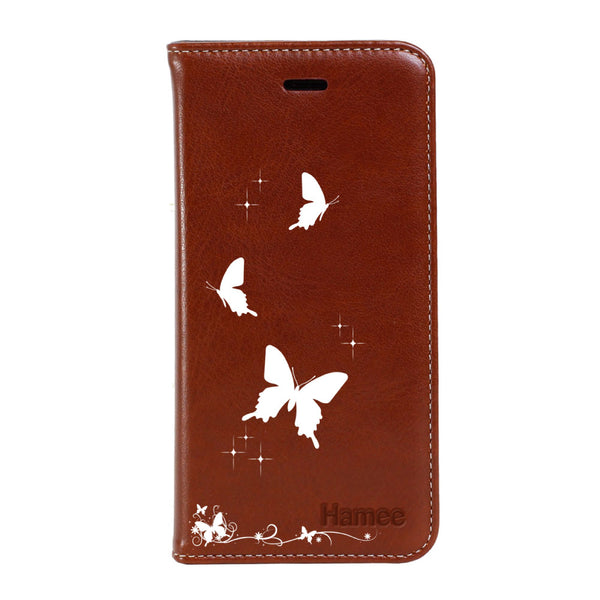 Hamee - Solid Butteflies - Premium PU Leather Flip Diary Card Pocket Case Cover Stand for Mi Mix 2