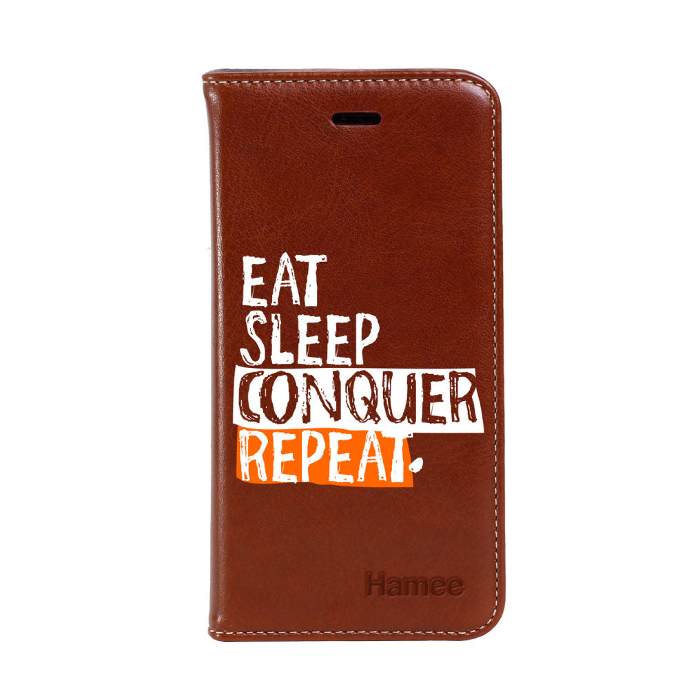 Hamee - Eat Sleep - Premium PU Leather Flip Diary Card Pocket Case Cover Stand for Mi Mix 2-Hamee India