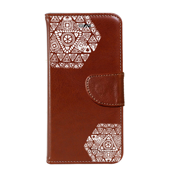Hamee - White Hexagons - Premium PU Leather Flip Diary Card Pocket Case Cover Stand for Mi Mix 2