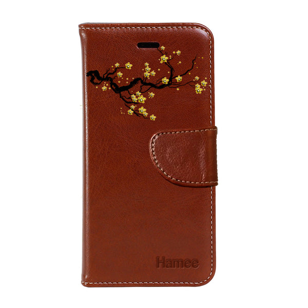Hamee - Yellow Branch - Premium PU Leather Flip Diary Card Pocket Case Cover Stand for Mi Mix 2