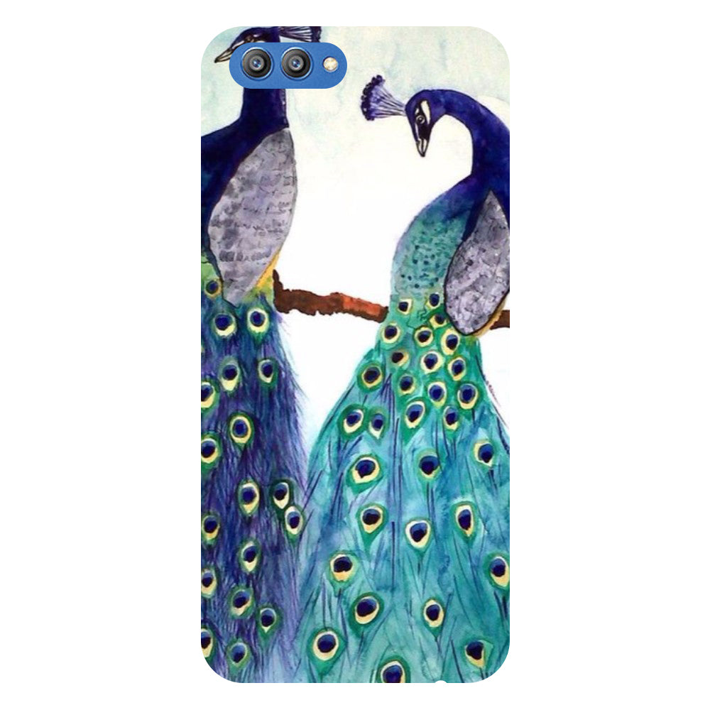 Peacock Pair - Printed Hard Back Case Cover for Honor V10-Hamee India