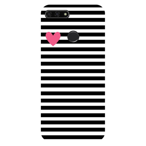 Stripes heart- Printed Hard Back Case Cover for Honor 7C