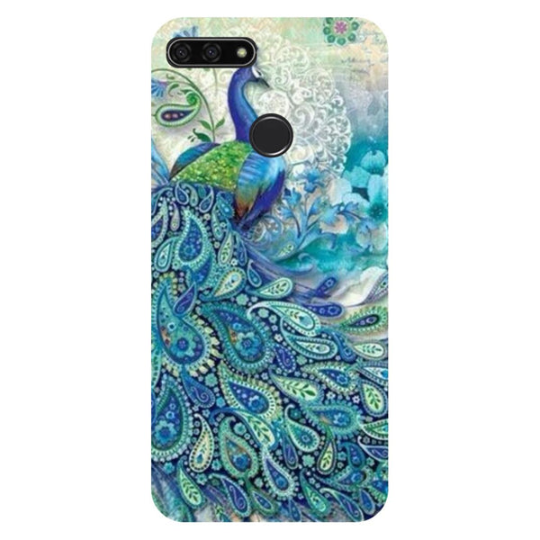 Blue Peacock Honor 7C Back Cover-Hamee India