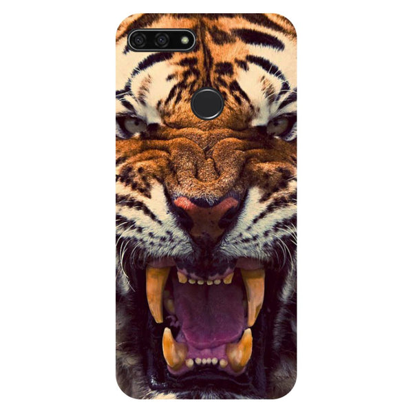 Tiger- Printed Hard Back Case Cover for Honor 7C