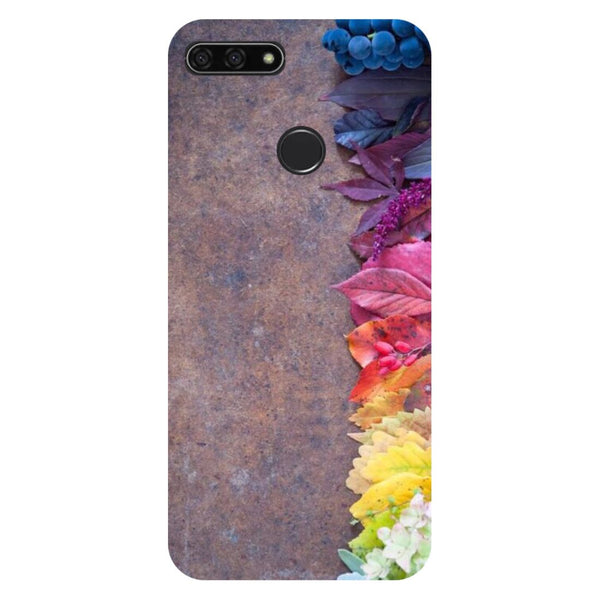 Side flowers- Printed Hard Back Case Cover for Honor 7C