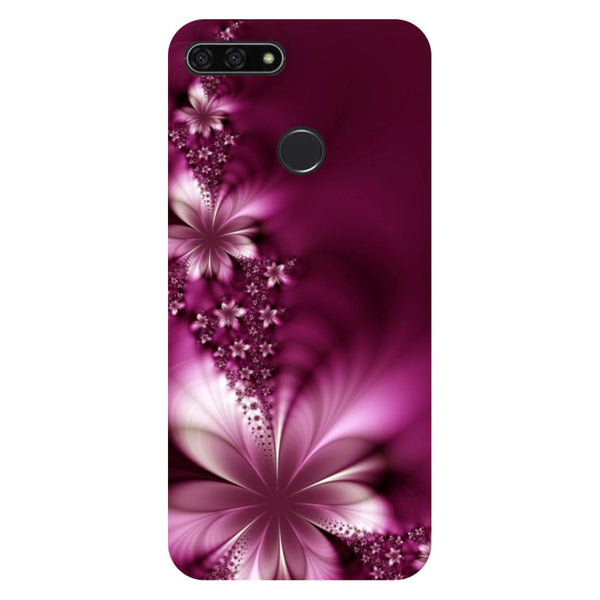 Purple flowers- Printed Hard Back Case Cover for Honor 7C