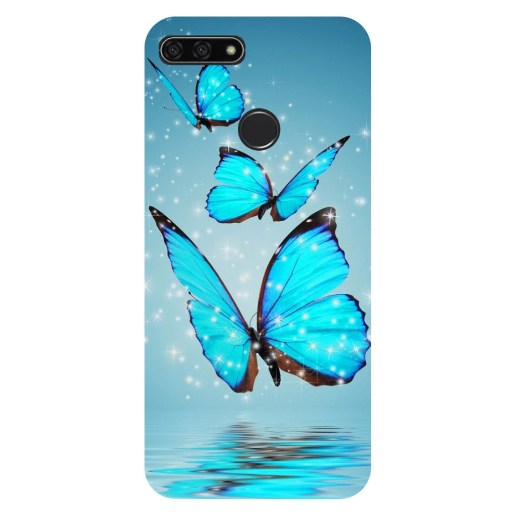 Blue Butterflies- Printed Hard Back Case Cover for Honor 7C