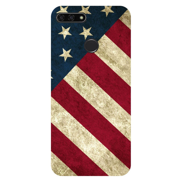 USA flag- Printed Hard Back Case Cover for Honor 7C