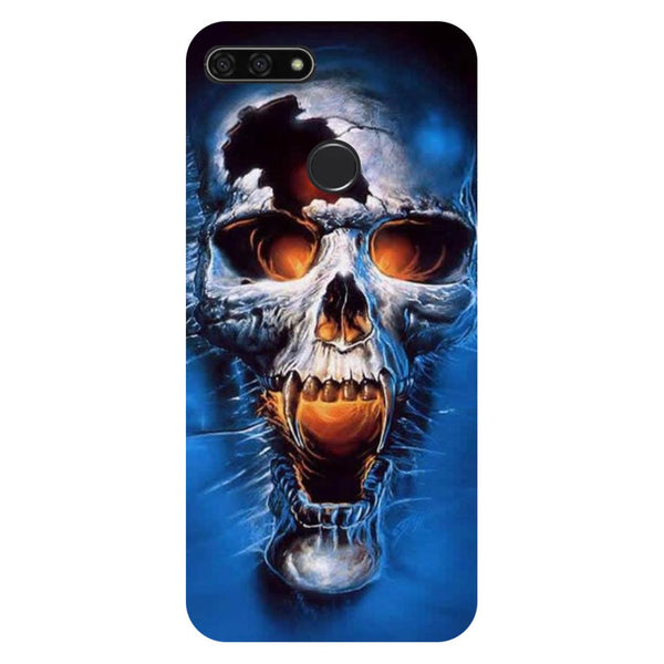 Skull blue- Printed Hard Back Case Cover for Honor 7C