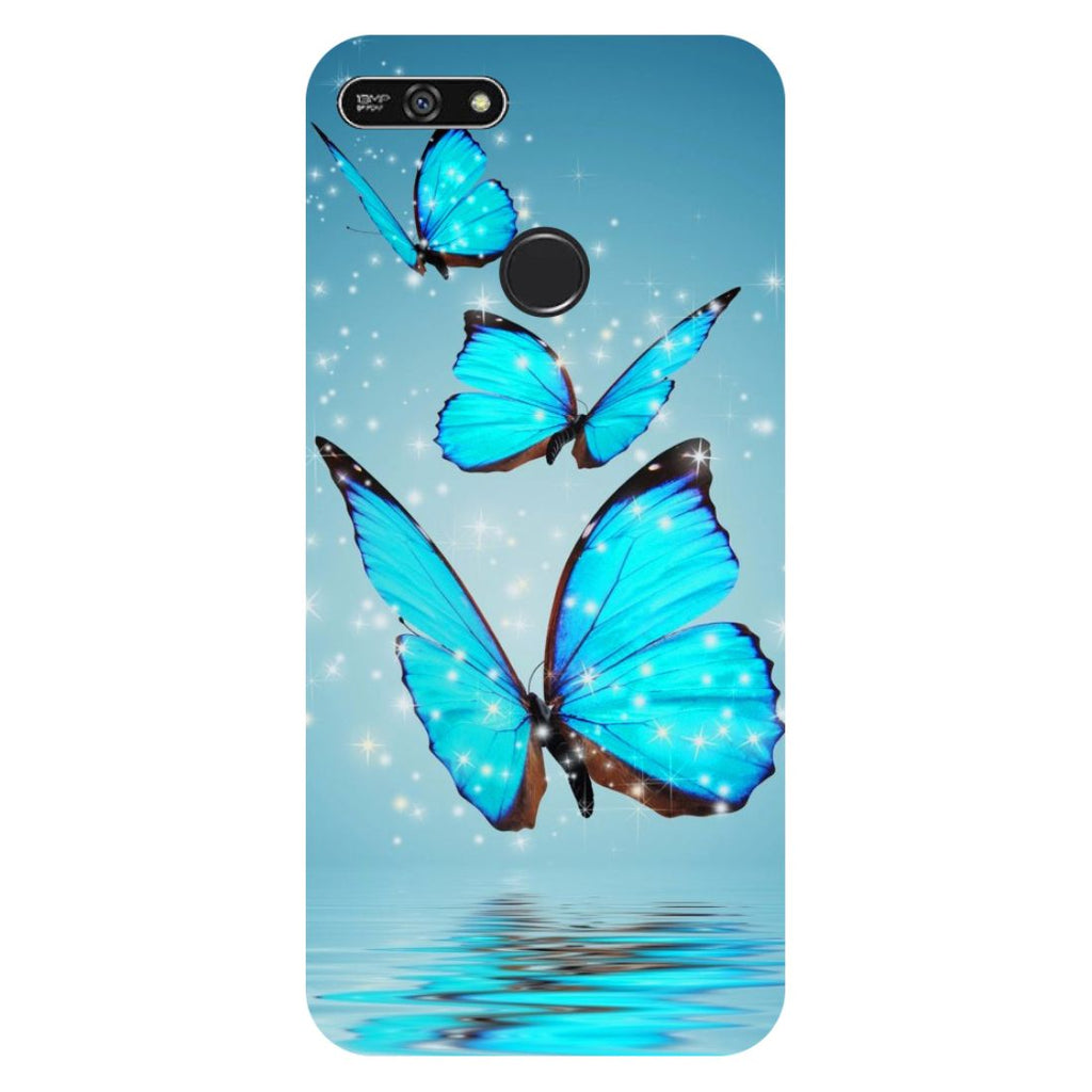 Blue Butterflies- Printed Hard Back Case Cover for Honor 7A