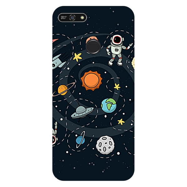 Planets- Printed Hard Back Case Cover for Honor 7A