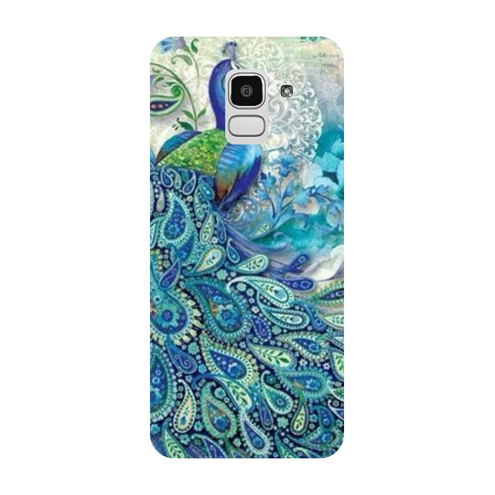 Blue Peacock Samsung Galaxy J8 Back Cover-Hamee India