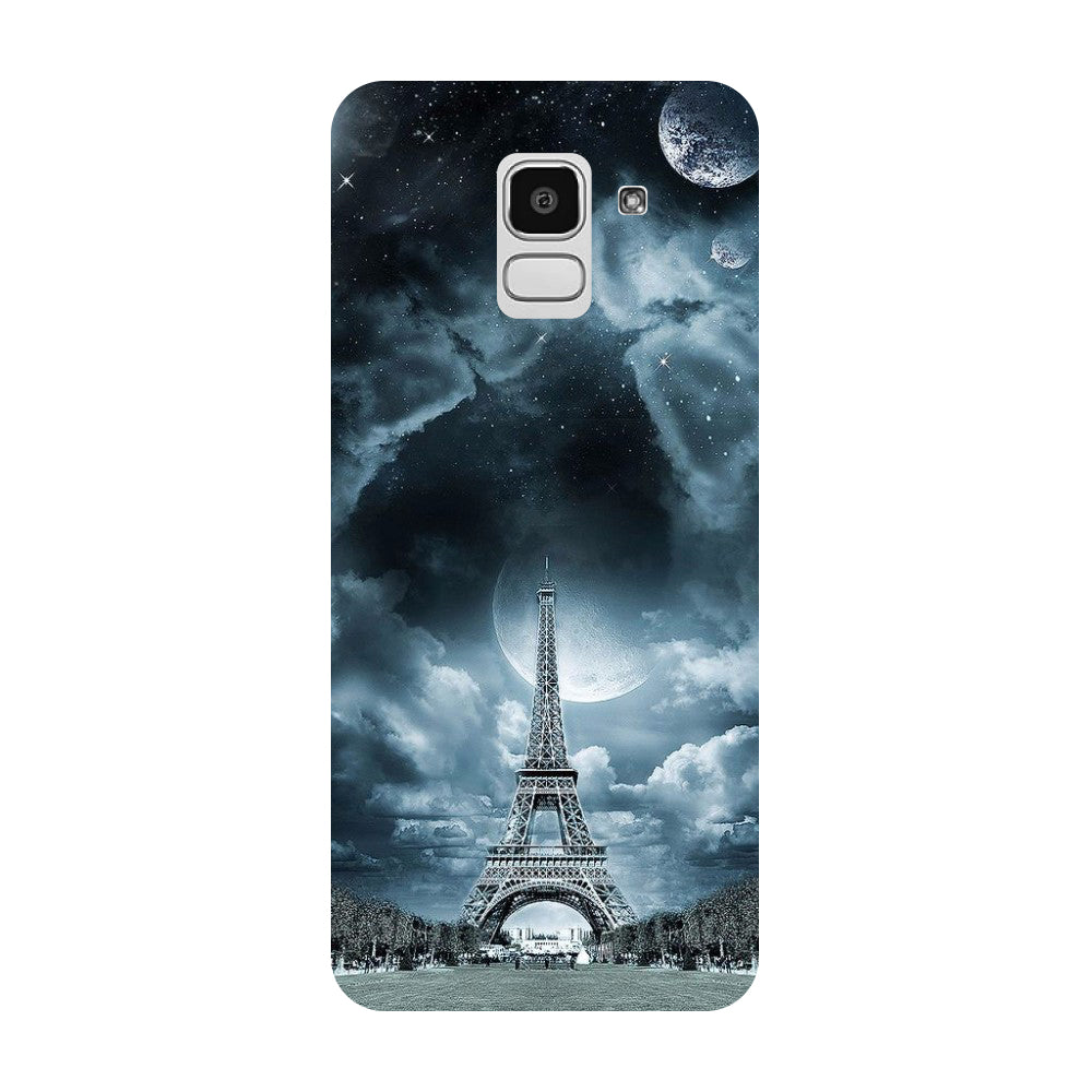 Blue Eiffel Samsung Galaxy J8 Back Cover-Hamee India