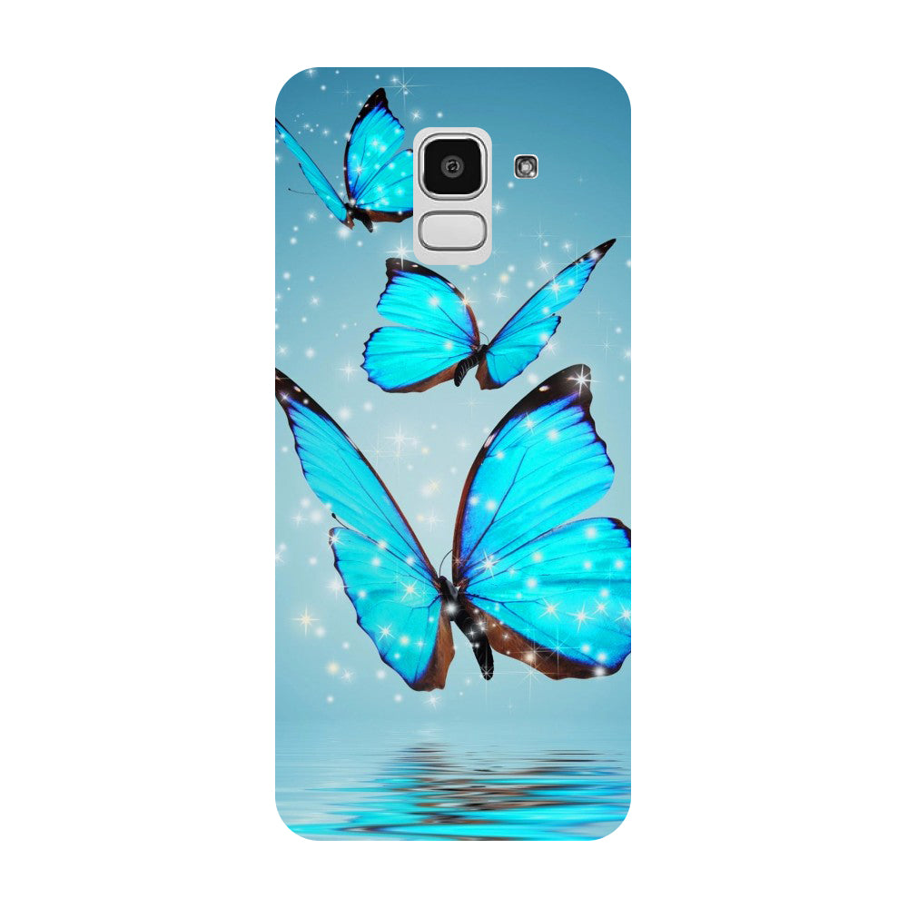 Hamee- Blue Butterflies-Printed Hard Back Case Cover For Samsung Galaxy J8 (2018)