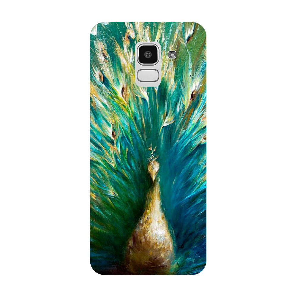Peacock Painting Samsung Galaxy J8 Back Cover-Hamee India