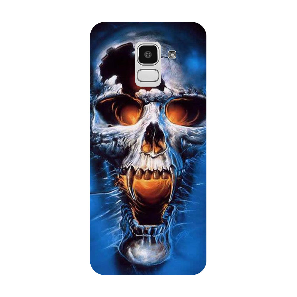 Skull Blue Samsung Galaxy J8 Back Cover-Hamee India