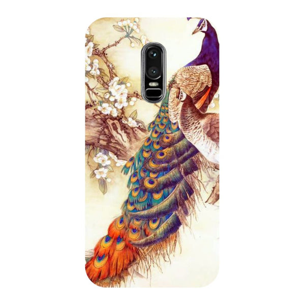 Yellow peacock- Printed Hard Back Case Cover for OnePlus 6