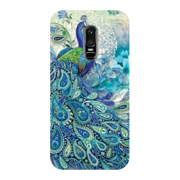Blue Peacock OnePlus 6 Back Cover-Hamee India