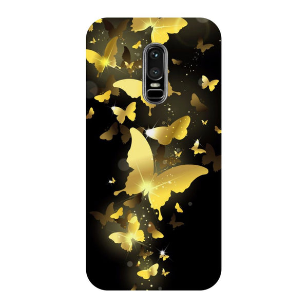 Golden Butterflies- Printed Hard Back Case Cover for OnePlus 6