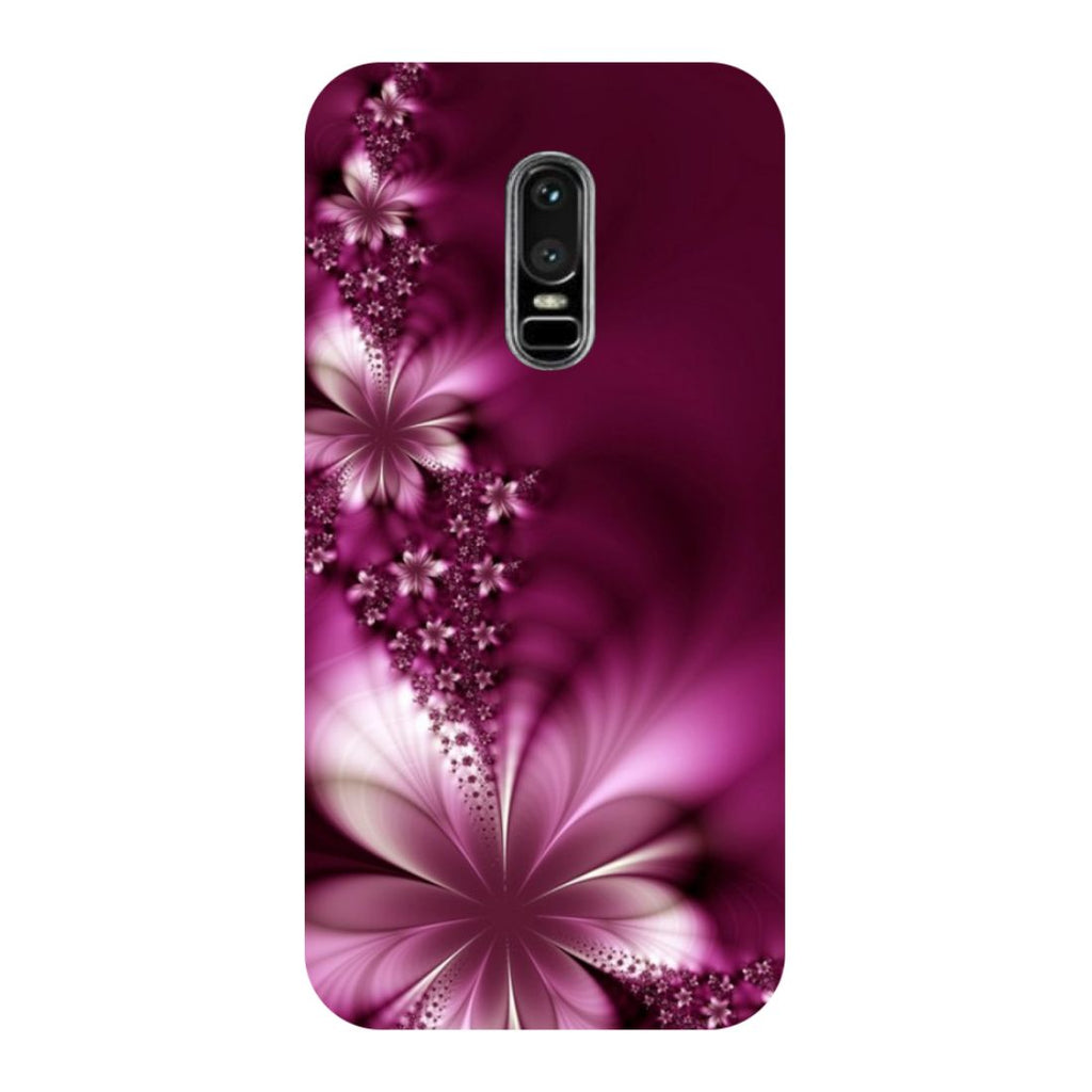 Purple Flowers OnePlus 6 Back Cover-Hamee India
