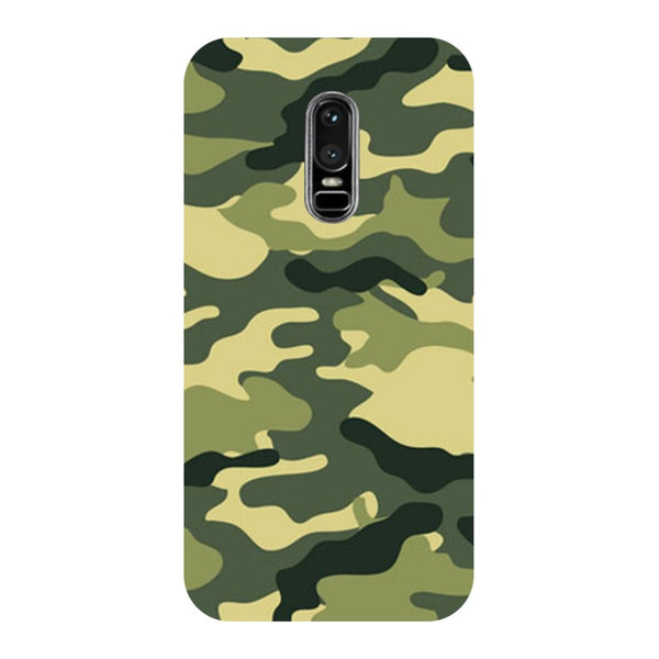 Army Camouflage- Printed Hard Back Case Cover for OnePlus 6